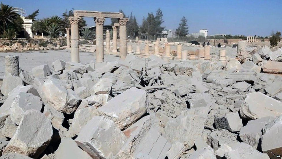 Rubble at the site of the Temple of Baalshamin in Palmyra (photo released 25 August 2015 on a social media site used by IS militants)