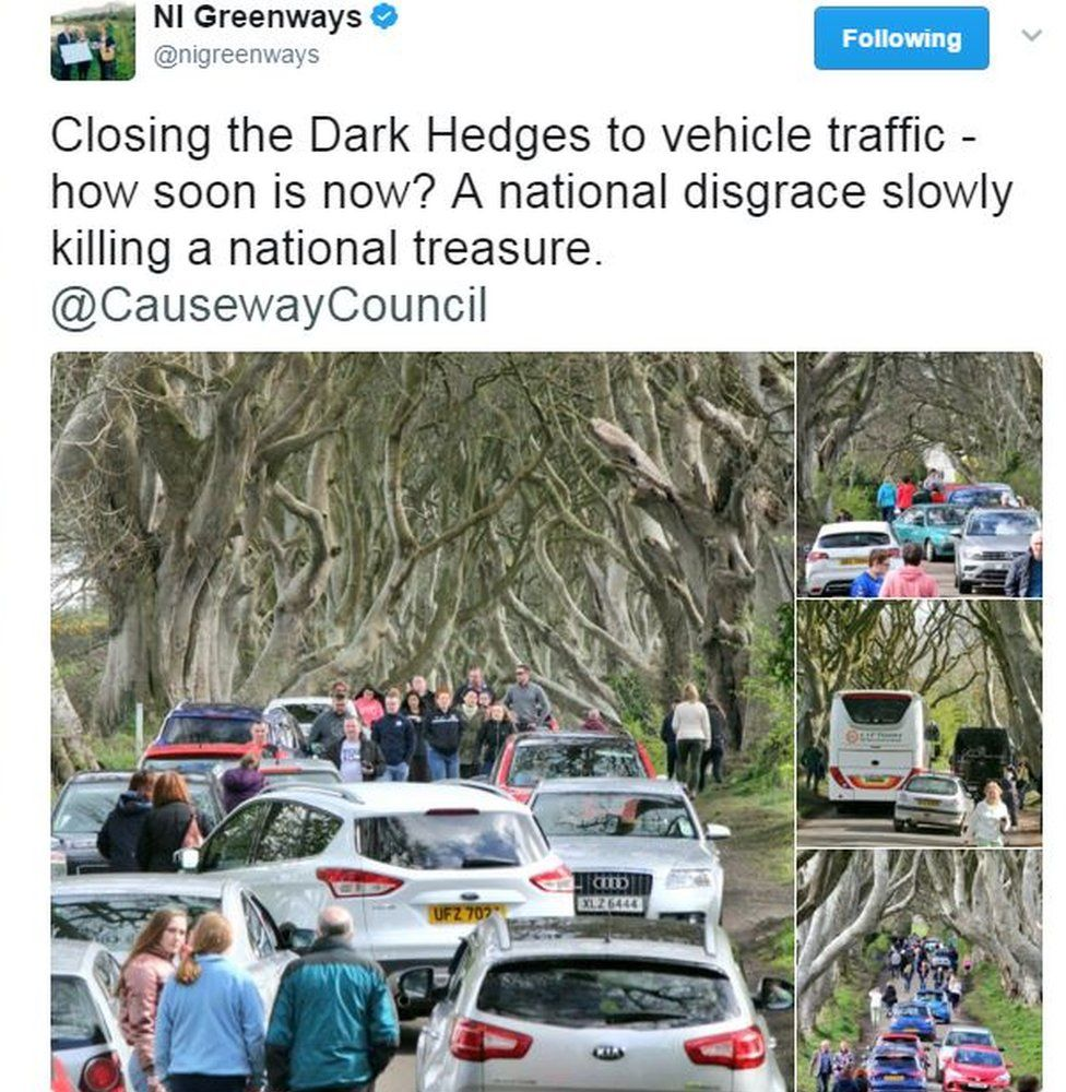 Tweet: Closing the Dark Hedges to vehicle traffic - how soon is now? A national disgrace slowly killing a national treasure. @CausewayCouncil