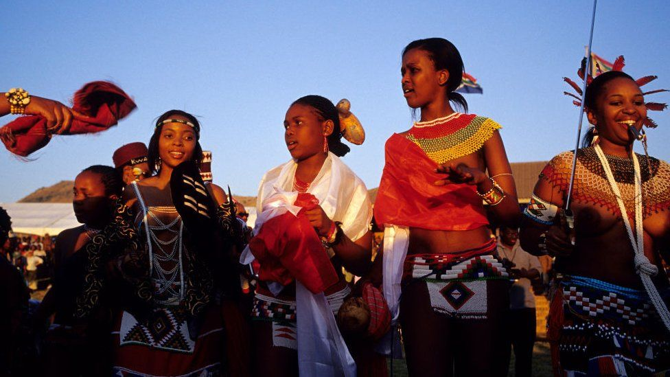 Zulu princesses dance at the Royal Palace during the annual Reed Dance on September 11, 2004