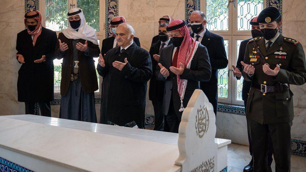 Members of the Jordanian royal family including King Abdullah and Prince Hamzah