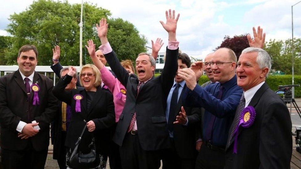 Nigel Farage with UKIP supporters