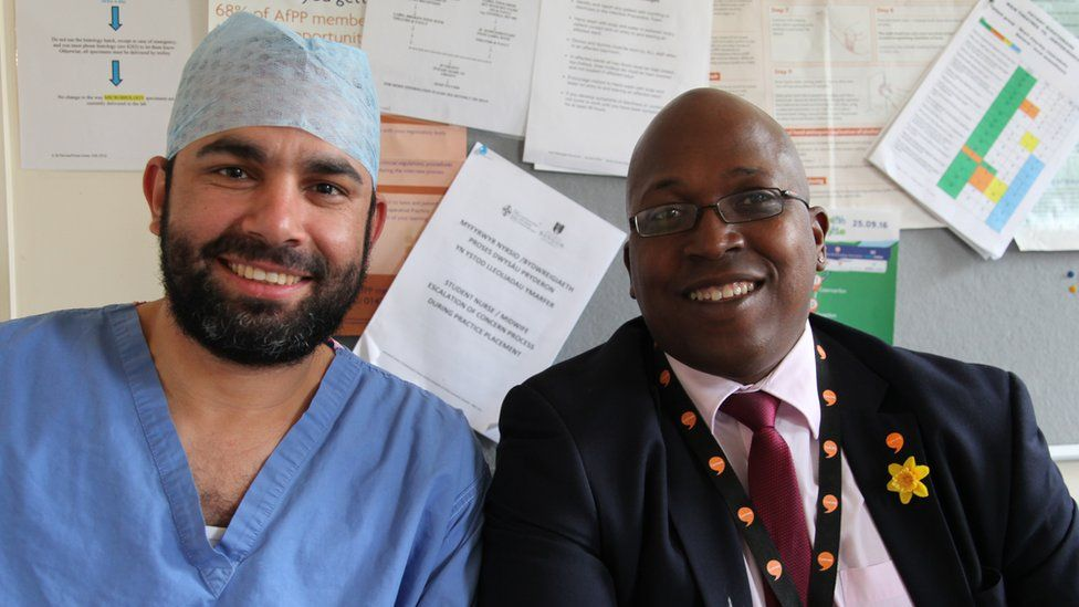 Egyptian doctor Dr Mahmoud Elsayed and surgeon Phillip Moore have gained huge benefits from learning Welsh