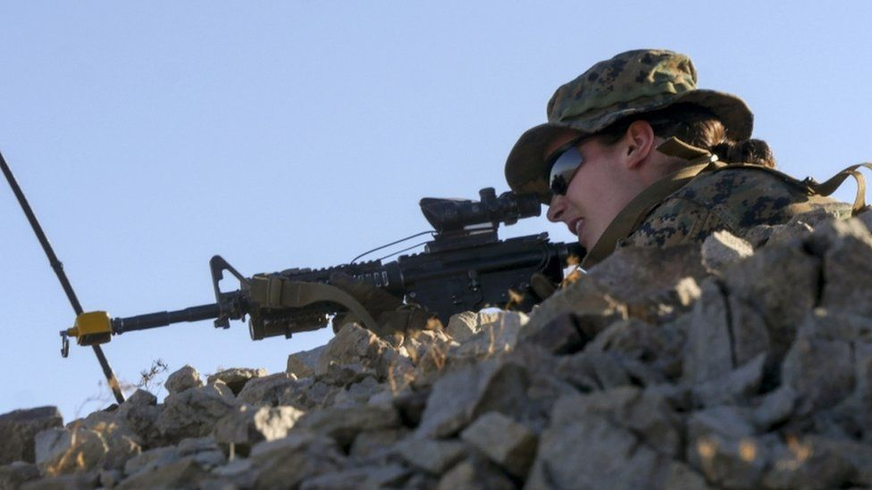 This US Marine Corps photo shows a female Marine during an exercise at Marine Corps Air Ground Combat Center Twentynine Palms, California, on September 18, 2017