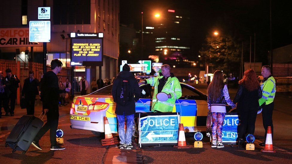 Police roadblock after the Manchester Arena attack