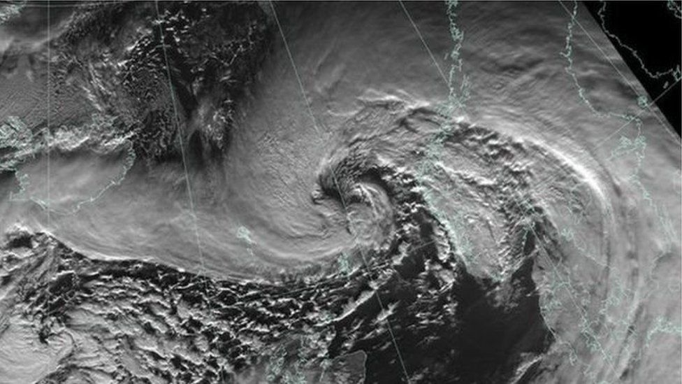 A satellite image released by the Met Office showing Storm Gertrude passing north of Shetland