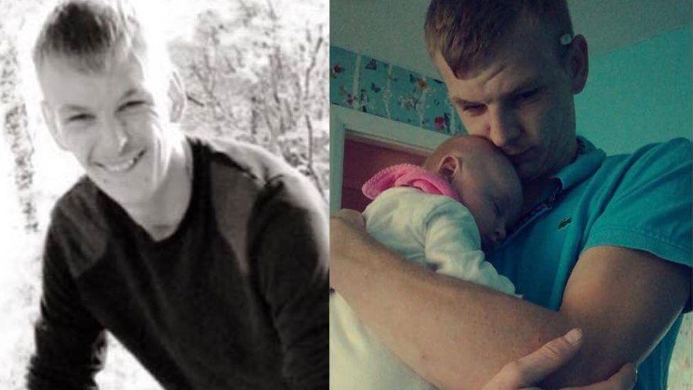 Photos of Jason Thomas, and Jason Thomas with his child