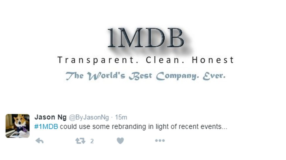 """""""1MDB could use some rebranding in light of recent events"""", this tweet says"""