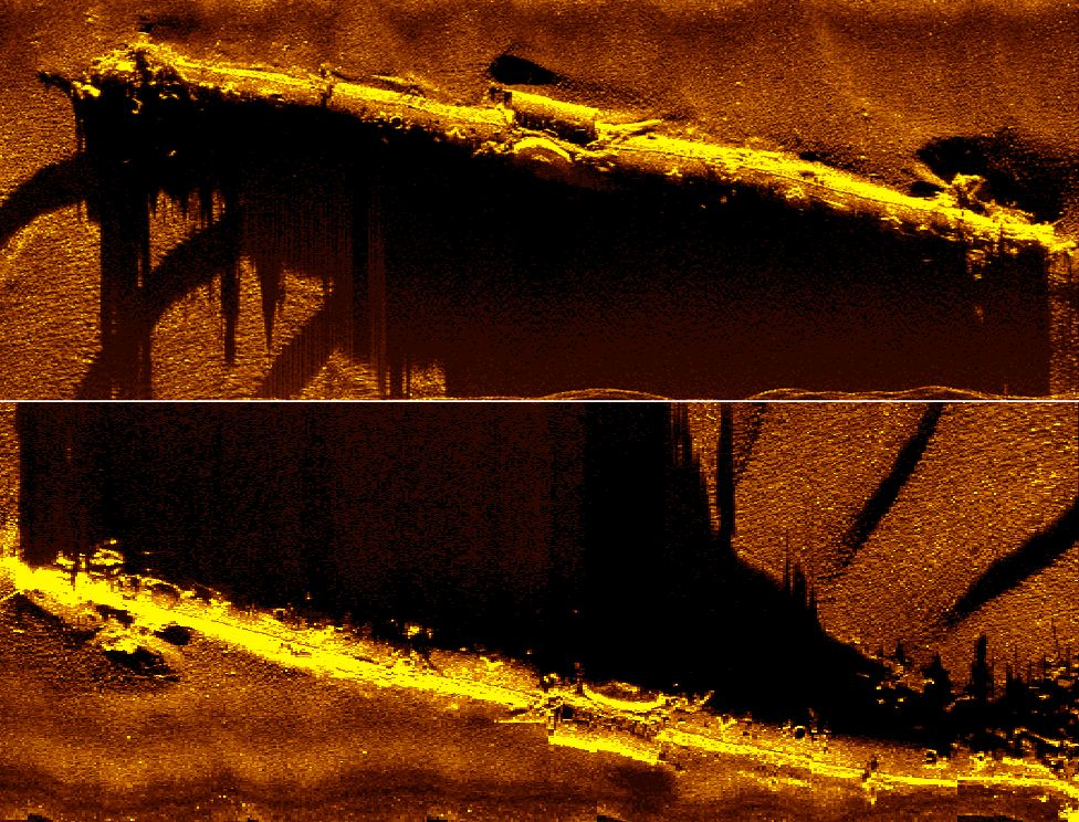 Scans of seabed showing U-boat