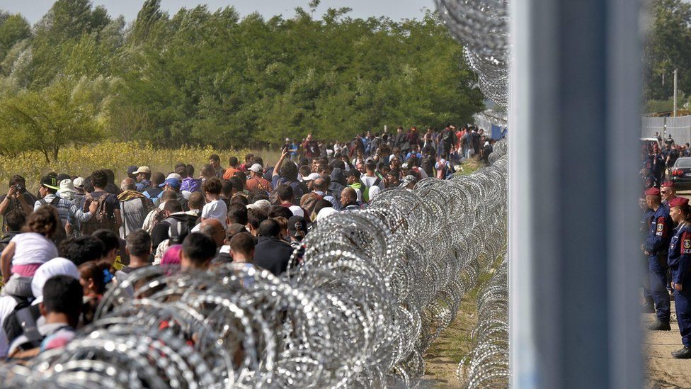 Migrants walk along the border fence between in Horgos, Serbia, 15 September 2015