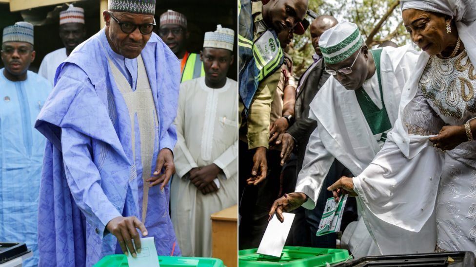 Nigerian president Muhammadu Buhari (L) and his opponent Atiku Abubakar cast their ballots