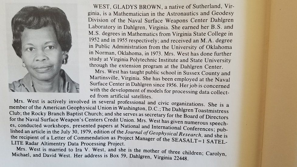 Professional listing showing Gladys West