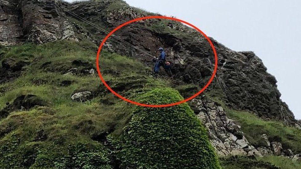 Coastguard rope technician involved in rescue