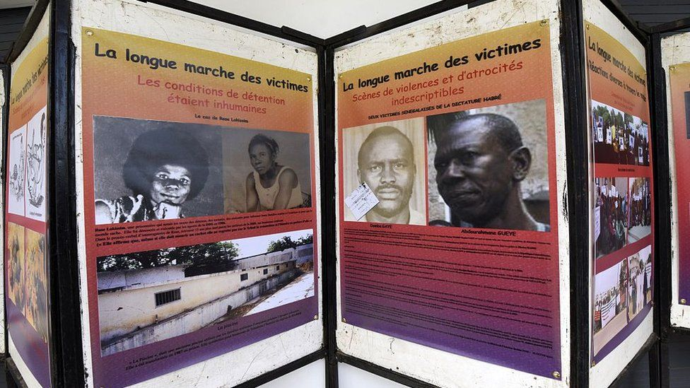 An exhibition depicting the years under which Chad was ruled by dictator Hissene Habre, is pictured on July 15, 2015 at the Douta Secke Cultural Center in Dakar, organized on the sidelines of a conference within the opening of Habre's trial in Dakar