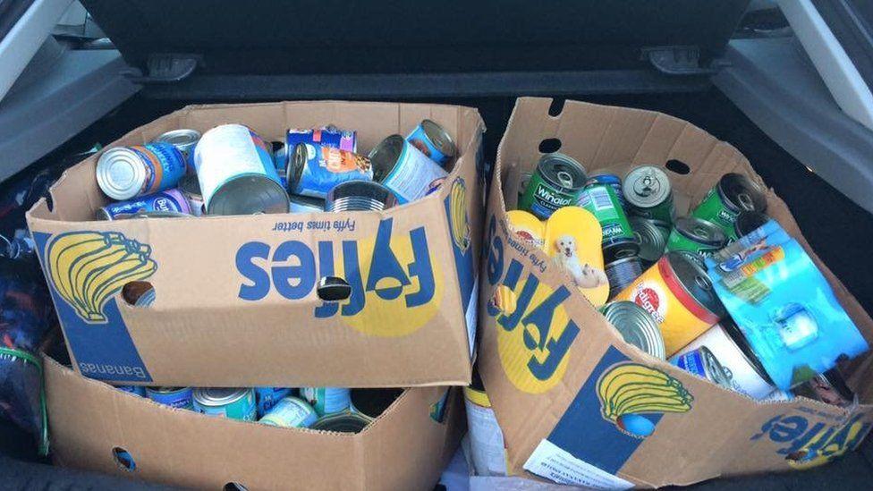 Bags of fog food stuffed in a car boot
