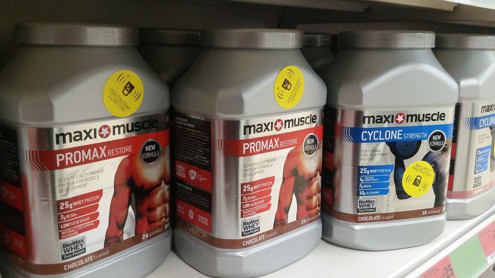 maximuscle product on shop shelf