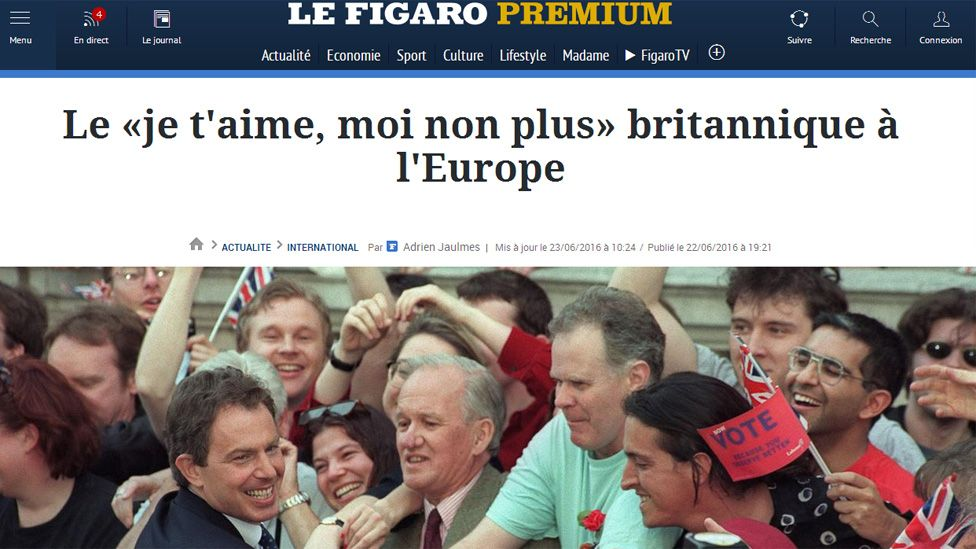 Screen grab of Le Figaro online Brexit live page