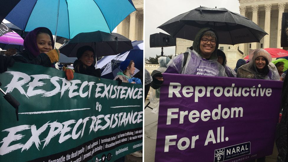dueling protests in front of the Supreme Court