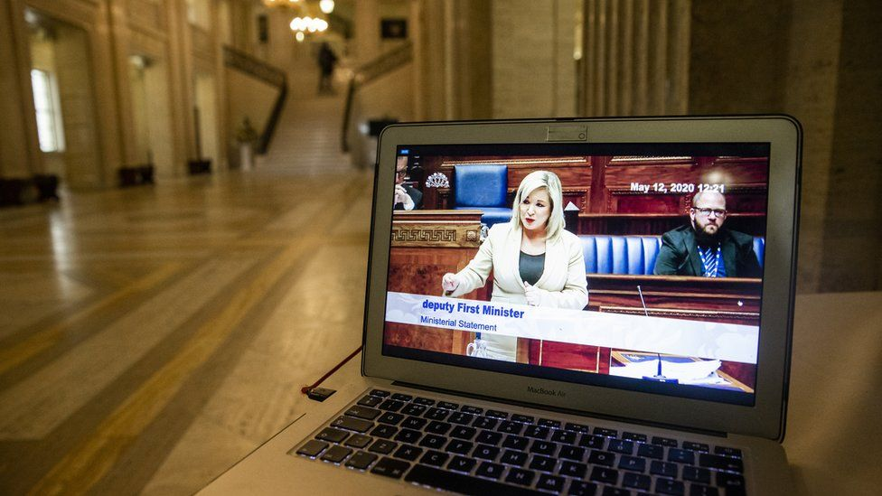 Michelle O'Neill pictured on a monitor