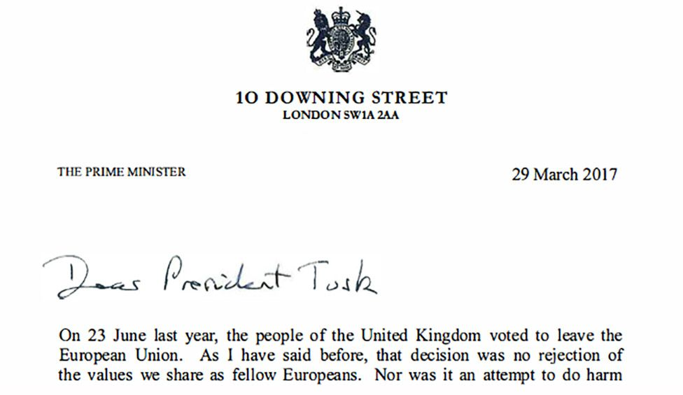 Theresa May's letter to Donald Tusk