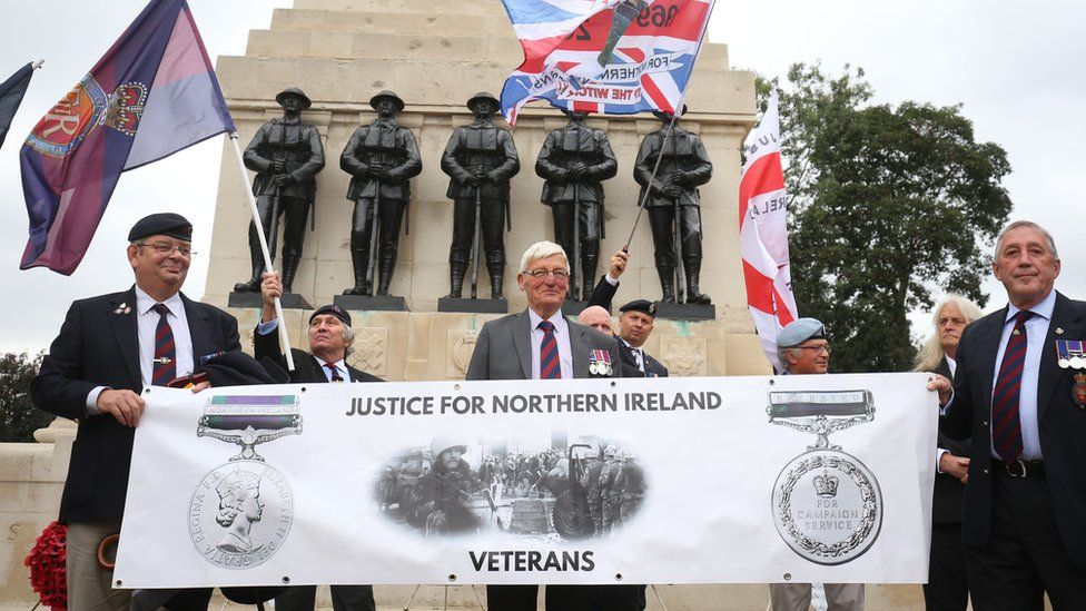 Former soldier Dennis Hutchings (centre) attended Saturday's protest in London