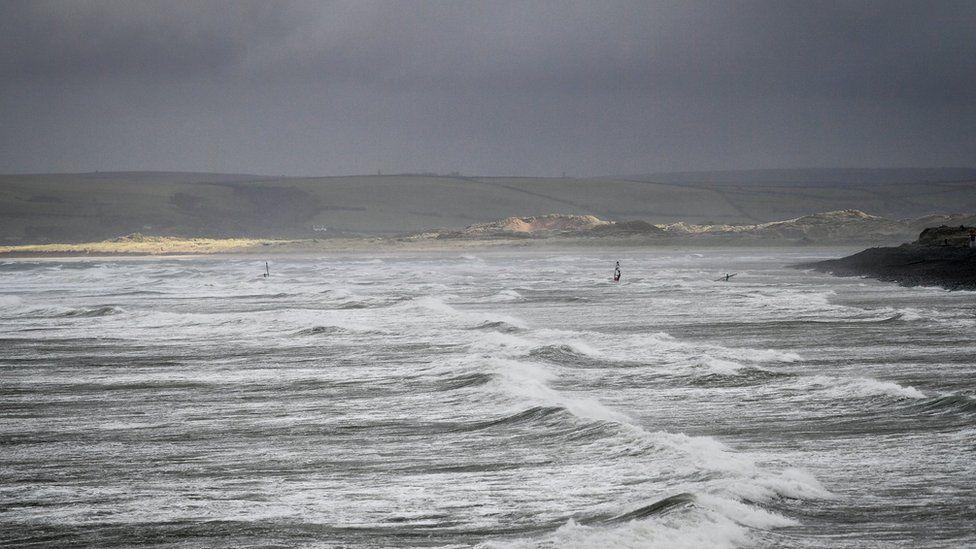 Windsurfers in Devon