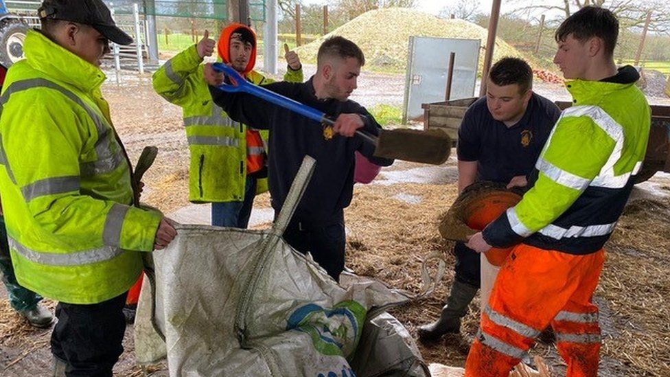 Volunteers carrying out flood prevention work in Brockham