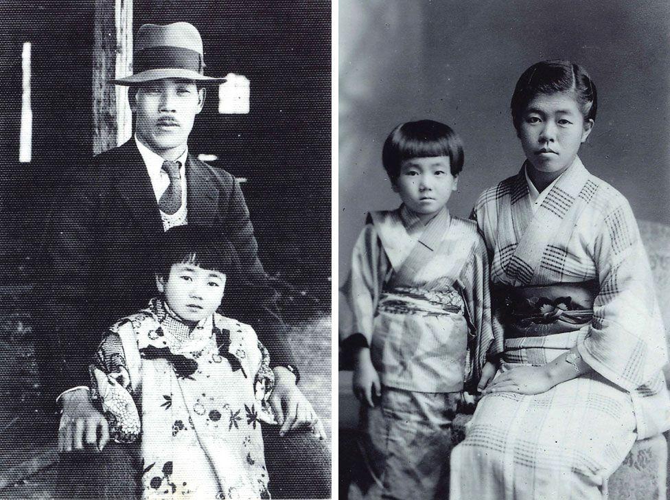 Reiko såg posera med sin far och äldre syster