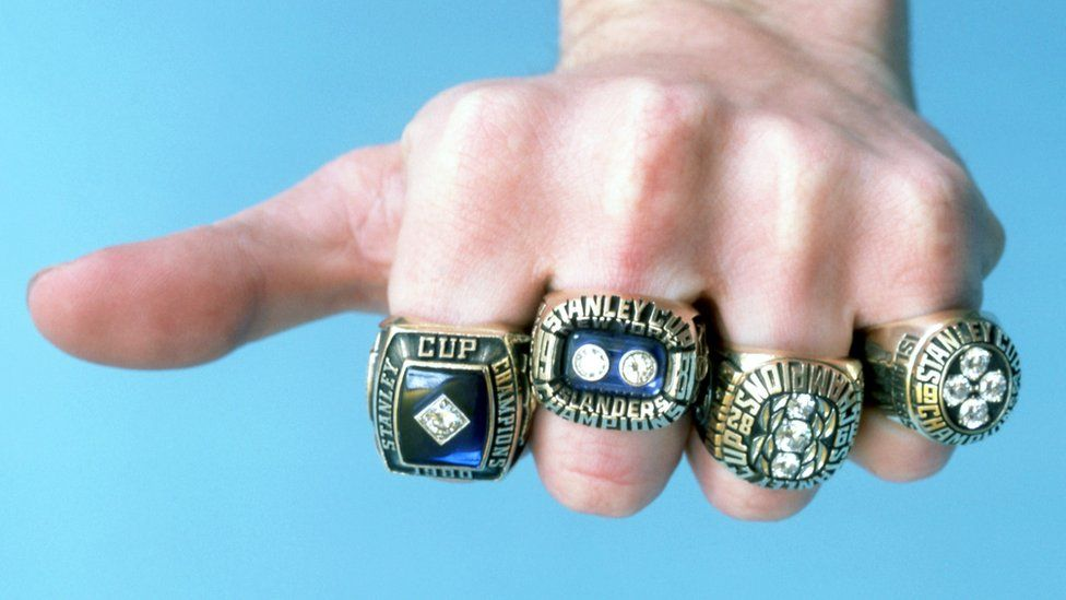Some of the NHL's New York Islanders Stanley Cup Championship rings