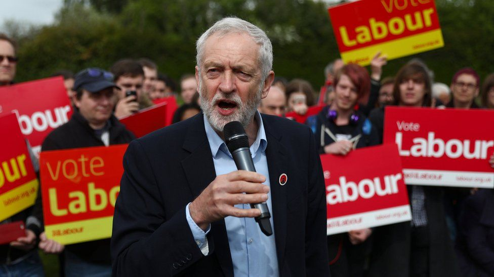 Jeremy Corbyn at a campaign rally in Harlow