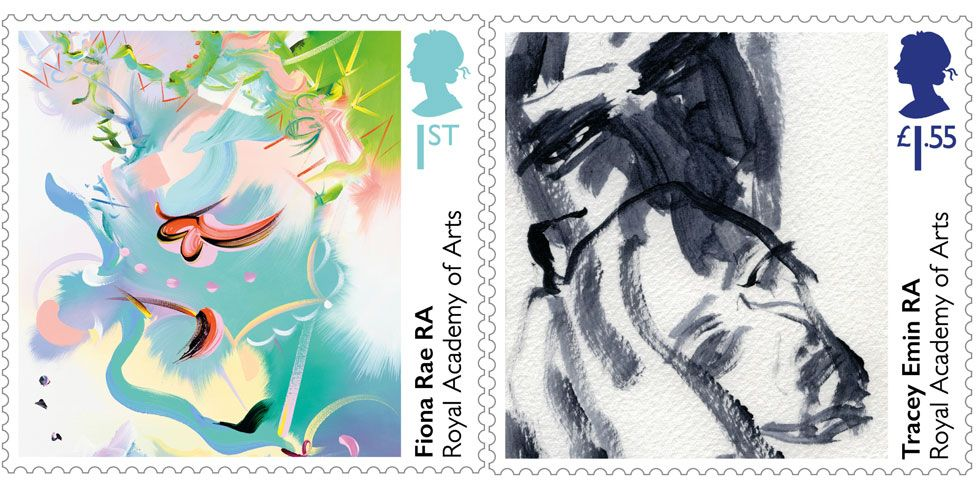 Fiona Rae and Tracey Emin stamps