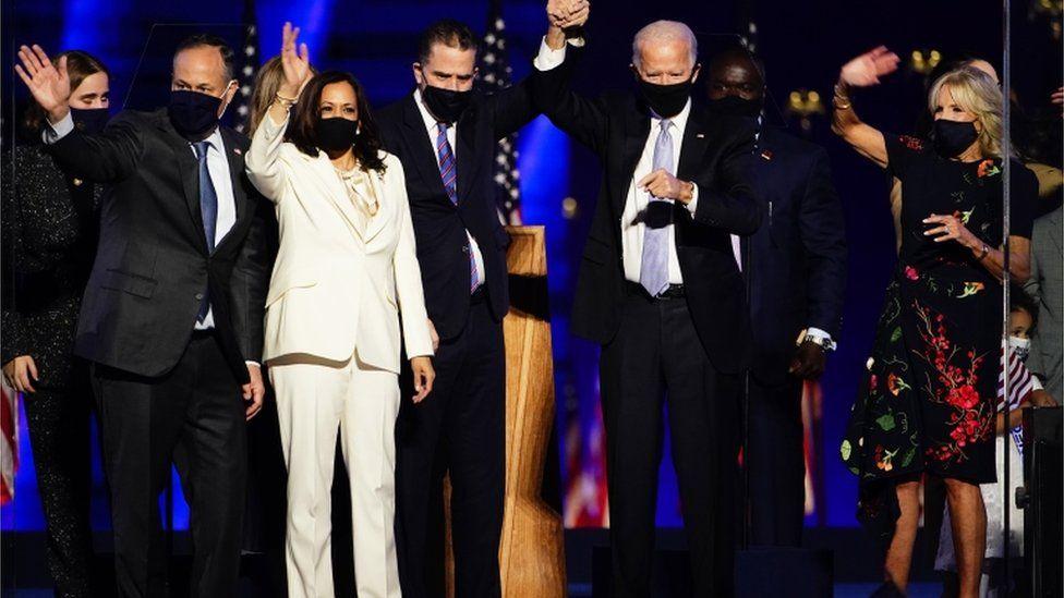Kamala Harris on stage with Joe Biden