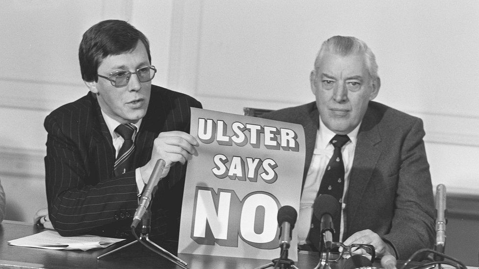 Mr Robinson and Mr Paisley worked together as fierce opponents of the Anglo-Irish Agreement of 1985