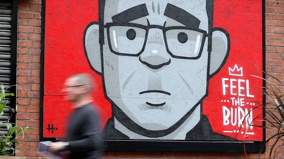 Street mural of Andy Burnham in the Northern Quarter, Manchester