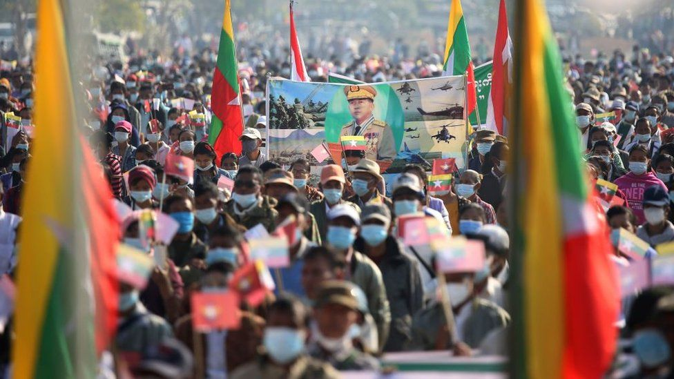 A rally in support of the military regime in the Myanmar capital, Nay Pyi Taw, following the military coup on 1 February 2021