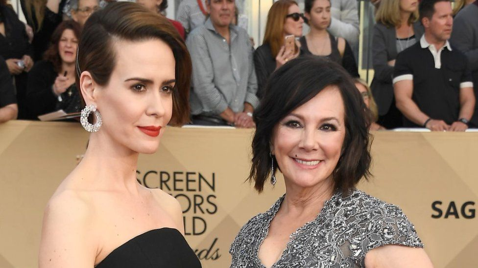 Actor Sarah Paulson (L) and writer Marcia Clark attend The 23rd Annual Screen Actors Guild Awards at The Shrine Auditorium on January 29, 2017