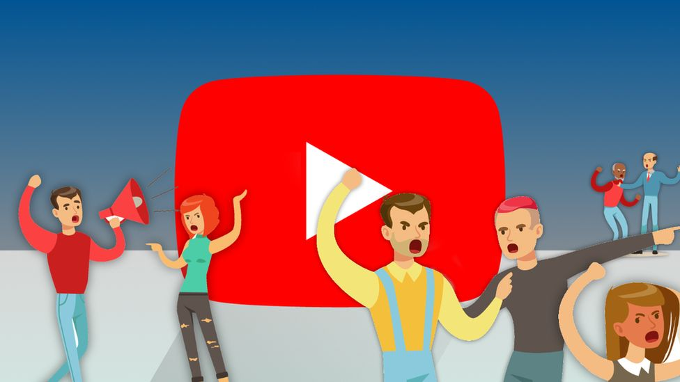 Illustration of people arguing in front of the YouTube logo