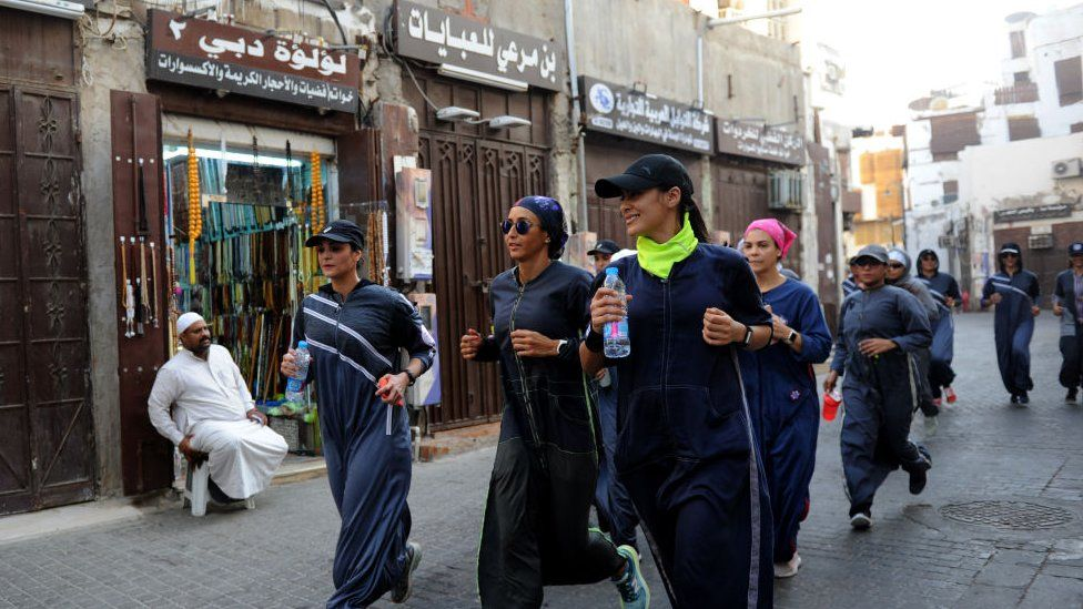 women jog in Balad, Jeddah