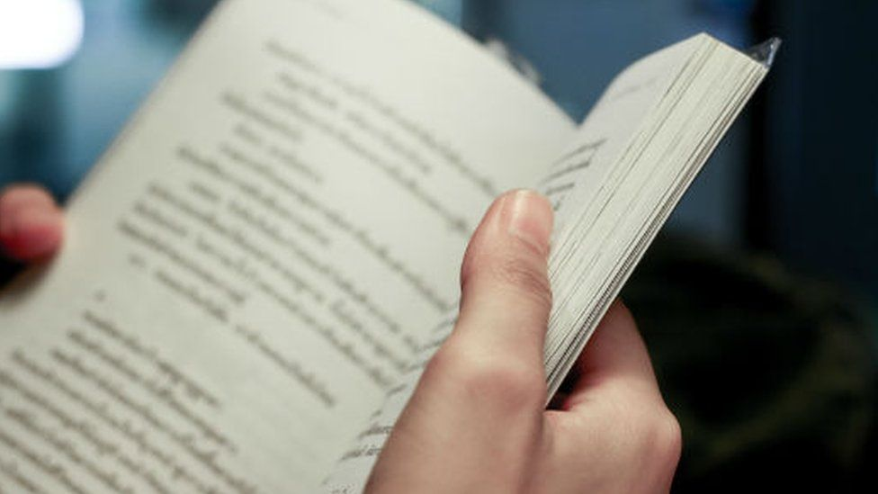 Close up of a book being read