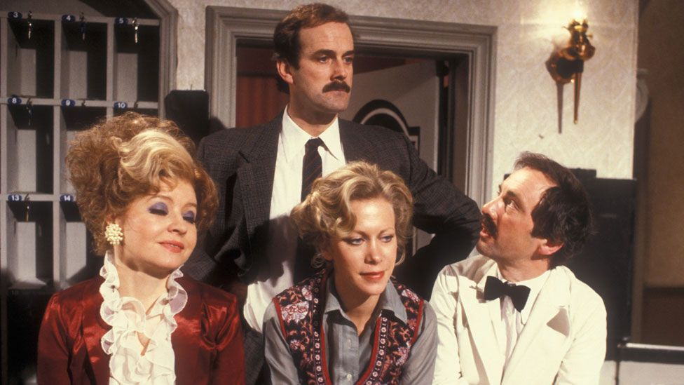 John Cleese with Prunella Scales, Connie Booth and Andrew Sachs in Fawlty Towers