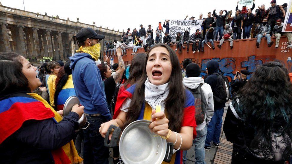 Hundreds of people gather in Plaza Bolivar in Bogota, Colombia, 22 November 2019