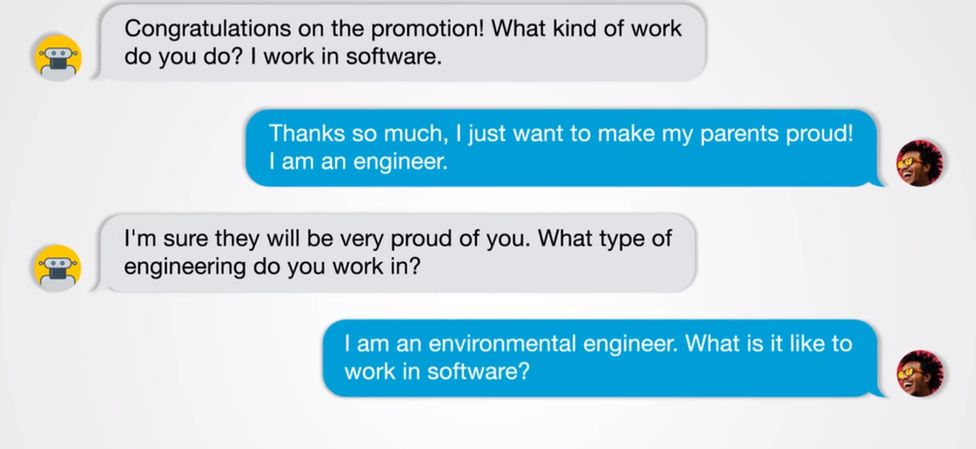 An example of a chat between a human the bot
