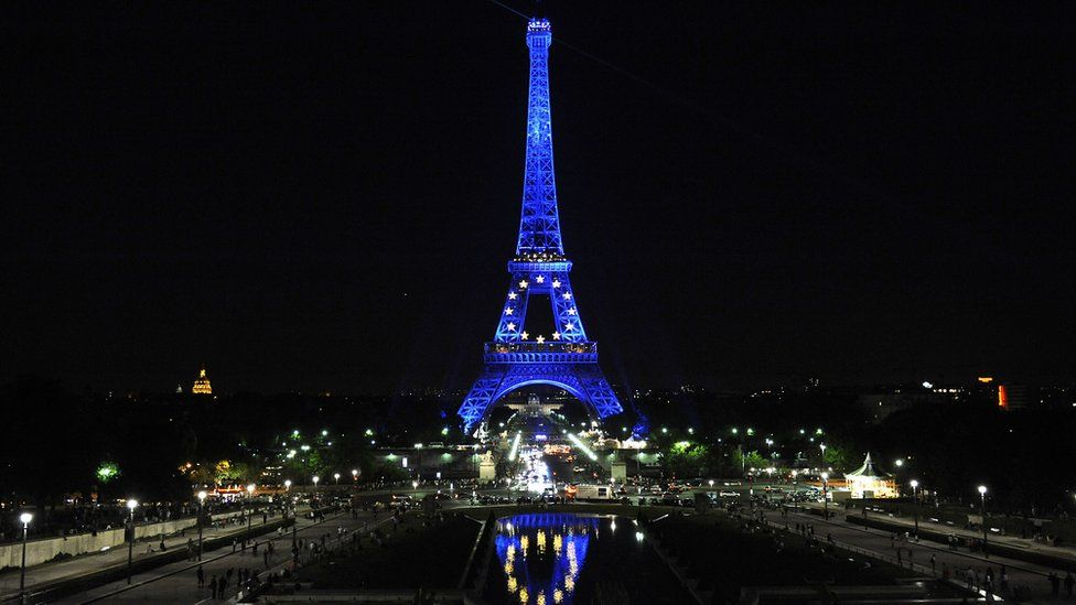 The Eiffel Tower lit up with the EU flag