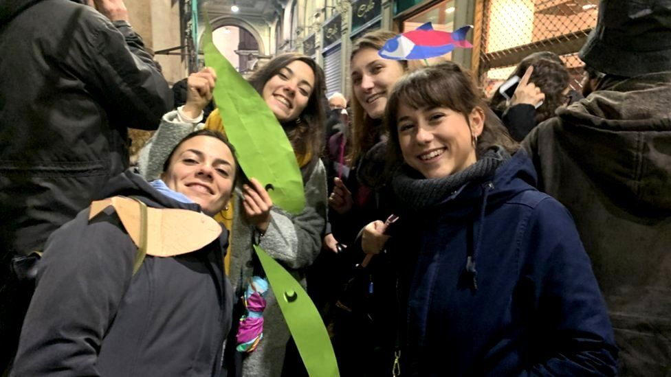 Demonstrators in Milan protest as part of the so-called Sardines movement