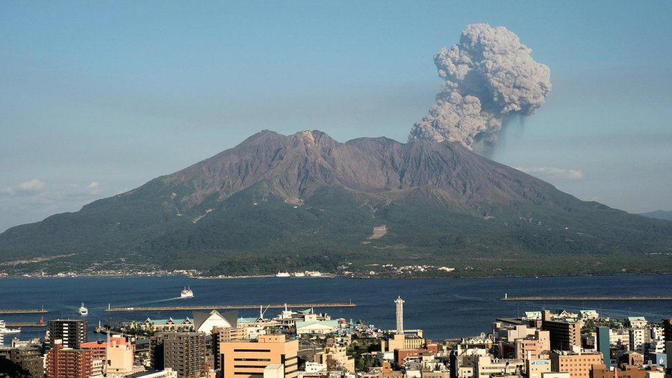 """Undated handout photo issued by the University of Exeter of Sakurajima volcano with downtown Kagoshima in the foreground as one of Japan""""s most active volcanoes could be close to a major eruption"""