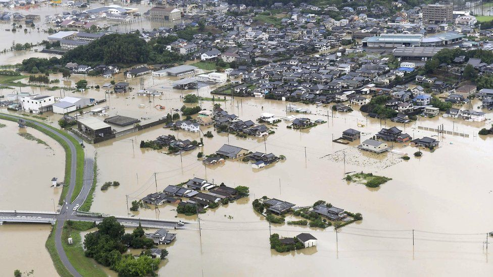 Flooded houses in Japan