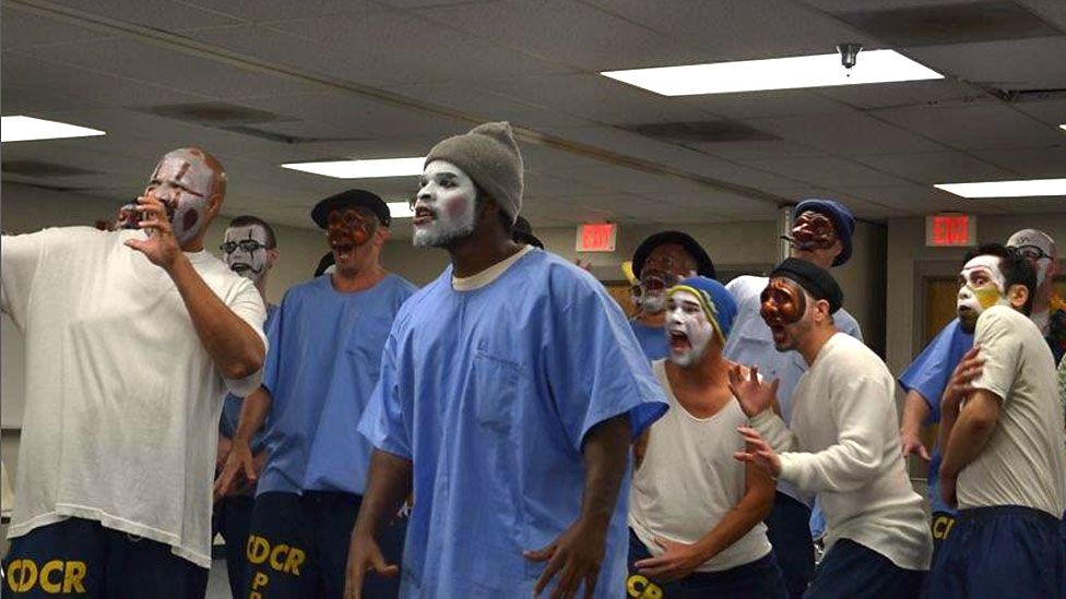 Prisoners taking part in the Actor's Gang workshop