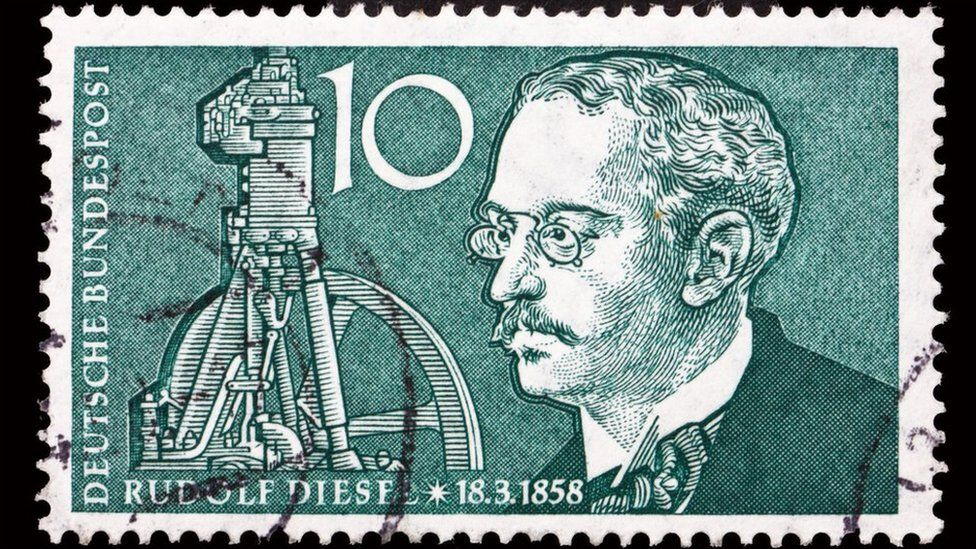 A German stamp showing Rudolph Diesel and his engine