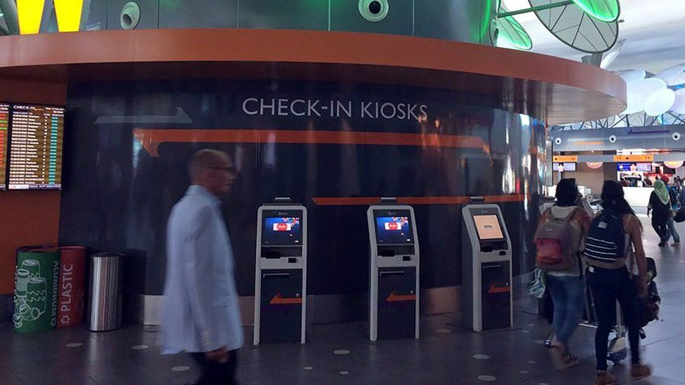 This general view taken on February 15, 2017 shows check-in kiosks at Kuala Lumpur International Airport 2, where Kim Jong-Nam reportedly been attacked by two women believed to be North Korean agent