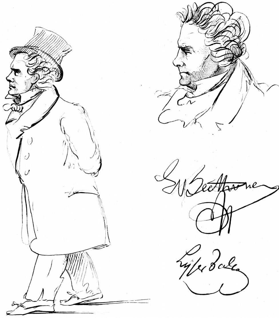 Beethoven sketched by J P Lyser