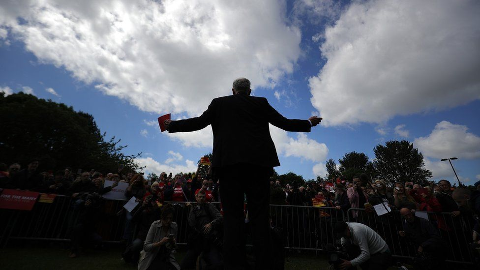 Jeremy Corbyn addresses crowd the day before the election